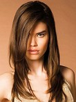 Perruque frappante attrayante capless lisse cheveux natureles