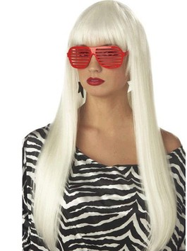Perruque capless de style attrayante longue lisse lady gaga