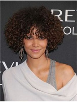 Perruque full lace halle berry frisée de style douce